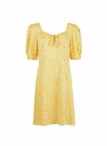 Womens **Yellow Ditsy Print Tea Dress, Yellow