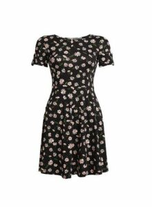 Womens Petite Black Daisy Print T-Shirt Dress, Black