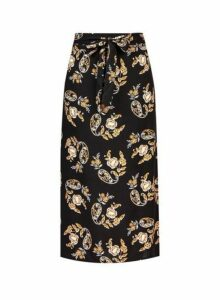 Womens **Tall Black 'Fiona' Floral Print Midi Skirt, Black