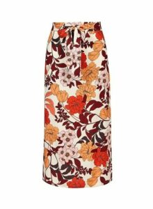 Womens **Tall Multi Colour 'Fiona' Floral Print Midi Skirt- Multi, Multi