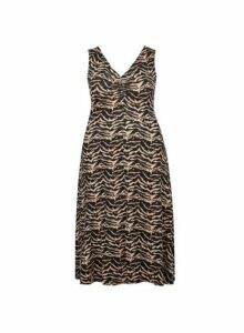Womens **Dp Curve Neutral Zig Zag Print Midi Dress- Multi, Multi