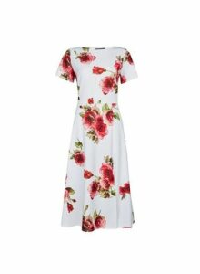 Womens White Floral Print Scuba Midi Dress, White