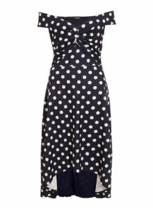 Womens *Quiz Navy Polka Dot Dip Hem Bardot Dress, Navy