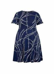 Womens **Dp Curve Navy Floral Print T-Shirt Dress- Blue, Blue