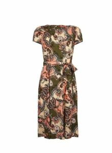 Womens Petite Multi Coloured Paisley Print Fit And Flare Dress- Green, Green