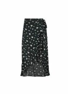 Womens Black Floral Print Midi Wrap Skirt- Black, Black