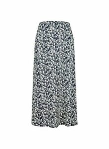 Womens Navy Ditsy Print Interlocking Textured Yarn Midi Skirt- Navy, Navy