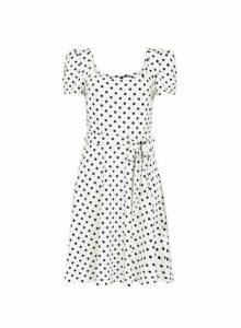 Womens White Spot Square Neck Dress- White, White