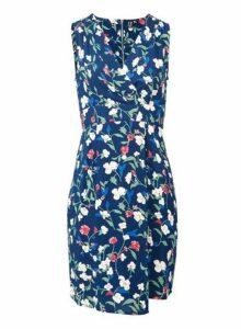 Womens *Izabel London Blue Floral Print Tie Back Shift Dress- Blue, Blue