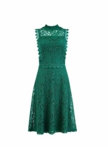Womens Green Shirred Neck Lace Midi Dress- Green, Green