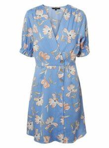 Womens **Vero Moda Blue Floral Print Wrap Dress, Blue