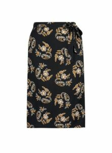 Womens **Dp Curve Black Printed Midi Skirt- Black, Black