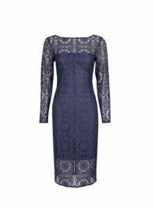 Womens **Navy Slash Neck Lace Bodycon Dress- Blue, Blue