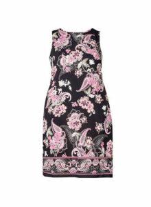 Womens **Billie & Blossom Curve Black Paisley Print Shift Dress- Black, Black