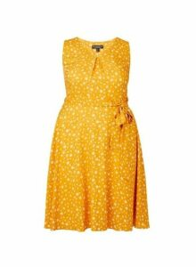 Womens **Billie & Blossom Curve Yellow Ditsy Print V-Neck Skater Dress, Yellow
