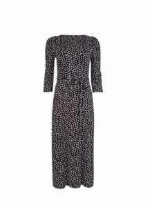 Womens Black Spot Print 3/4 Sleeve Midi Dress- Black, Black