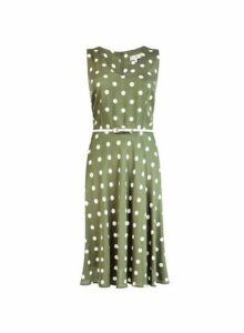 Womens **Billie & Blossom Khaki Spot Print Hard Belt Dress- Khaki, Khaki