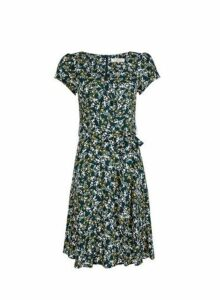 Womens **Billie & Blossom Teal Blue Floral Print Skater Dress, Blue