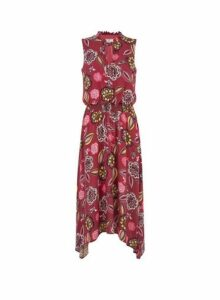 Womens **Billie & Blossom Tall Pink Floral Print Shirred Dress- Pink, Pink
