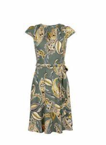 Womens **Billie & Blossom Petite Khaki Paisley Print Dress, Khaki