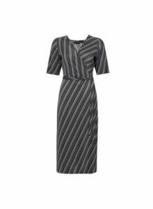Womens **Black Stripe Print Plisse Midi Dress, Black