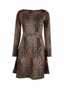 Womens **Brown Animal Print Slash Neck Skater Dress- Brown, Brown