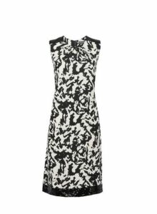 Womens **Tall White Camouflage Print Sequin Trim Shift Dress- Black, Black