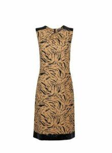 Womens **Tall Multi Coloured Animal Print Sequin Trim Shift Dress- Animal, Animal