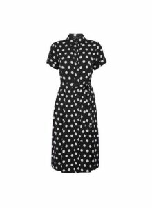 Womens Black Spot Print Button Midi Shirt Dress, Black