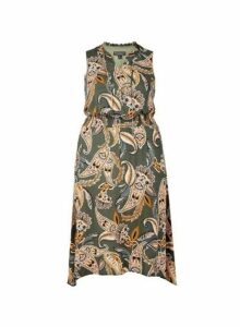 Womens **Billie & Blossom Curve Khaki Midi Dress- Green, Green