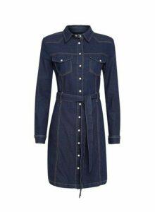 Womens Indigo Western Denim Shirt Dress- Blue, Blue