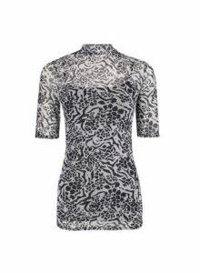 Womens **Tall Black Animal Print Mesh T-Shirt- Black, Black