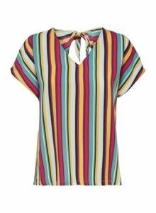 Womens **Only Multi Colour Short Sleeve Stripe Print Tie Top- Multi Colour, Multi Colour