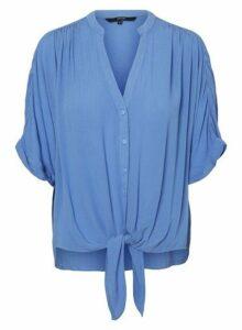 Womens **Vero Moda Blue Tie Front Blouse- Blue, Blue