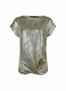 Womens Gold Twist Hem T-Shirt- Gold, Gold