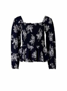 Womens Navy Silhouette Square Neck Top- Blue, Blue