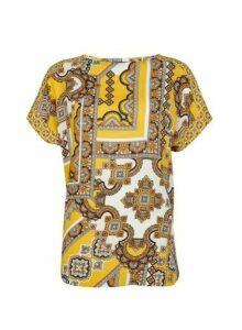 Womens **Tall Yellow Tile Print T-Shirt- Yellow, Yellow
