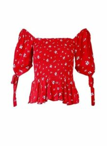 Womens Red Ditsy Print Shirred Milkmaid Top- Red, Red