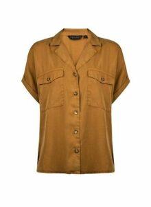 Womens Yellow Short Sleeve Shirt- Ochre, Ochre