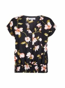 Womens Petite Black Floral Print Shirred Hem Top- Black, Black
