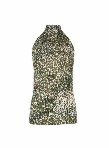 Womens **Tall Khaki Camouflage Print High Neck Top, Khaki
