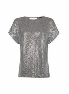 Womens Grey Foil Print Tee- Grey, Grey