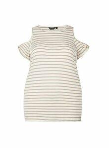 Womens **Dp Curve White Stripe Print Cold Shoulder Top- White, White
