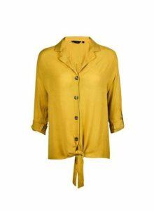 Womens Yellow Crinkle Shirt- Ochre, Ochre