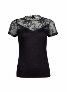 Womens Petite Black Lace Insert Top- Black, Black