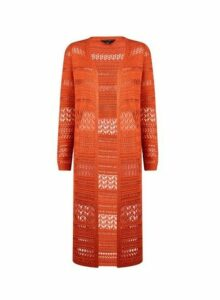 Womens Rust Crochet Maxi Cardigan- Red, Red