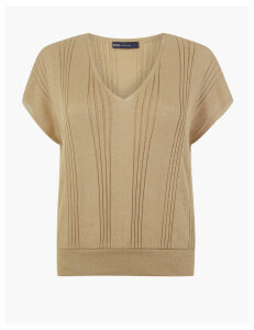 M&S Collection Sheer Ribbed Knitted Top