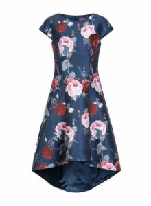 Womens *Chi Chi London Navy Floral Print Dip Hem Skater Dress, Navy