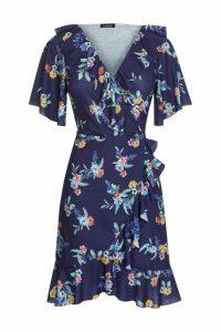 Womens Boohoo Plus Floral Wrap Dress -  Blue