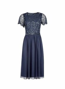 Womens **Showcase Navy 'Thalia' Midi Dress- Navy, Navy